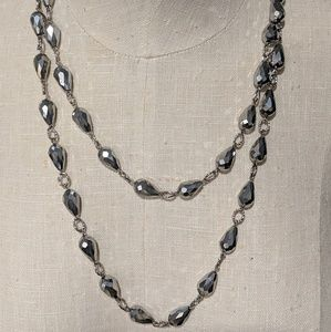 Chico's Hematite Beaded long Necklace & earrings